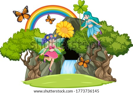 Fairy tales with waterfall cave and rainbow isolated on white ba Stock photo © bluering