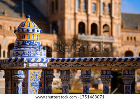 Close up view ceramic tiled railings blue white color architectu Stock photo © amok