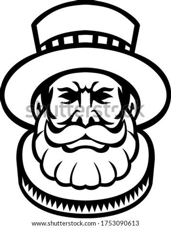 Bekçi kafa maskot siyah beyaz ikon örnek Stok fotoğraf © patrimonio