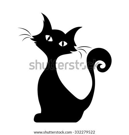 Witches in silhouette cartoon character isolated on white backgr Stock photo © bluering