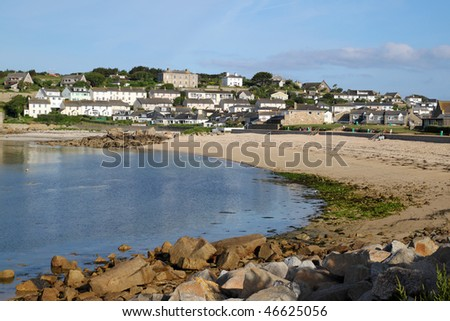 Porthcressa beach and Hugh Town, St. Mary's Isles of Scilly, Cornwall UK. Stock photo © latent
