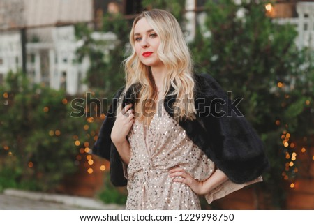 Güzel bir kadın kürk moda bayan Stok fotoğraf © Victoria_Andreas