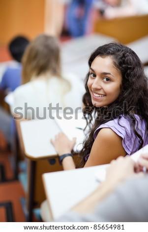 Portret studentów piśmie amfiteatr kamery skupić Zdjęcia stock © wavebreak_media