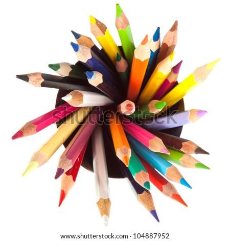 szín · ceruzák · izolált · fehér · sok · különböző - stock fotó © ewastudio