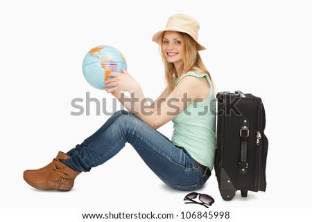 nő · ül · tart · világ · földgömb · fehér - stock fotó © wavebreak_media