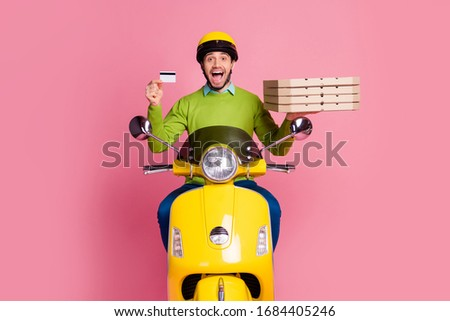 Young man riding his credit card Stock photo © curvabezier