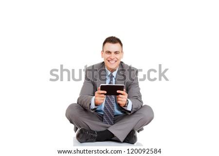Empresário digital tela sensível ao toque sessão ioga lótus Foto stock © dacasdo