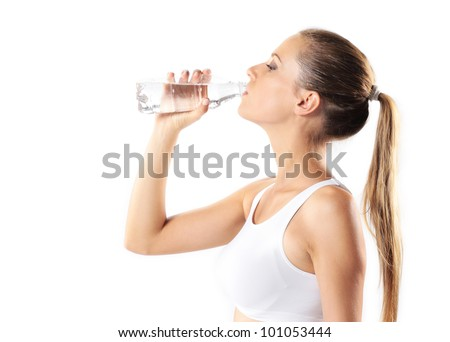 Young woman in white underwear drinking bottled water and holding electronic scales Stock photo © photography33