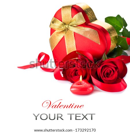 white gift box with red bow two hearts rose and greeting card stock photo © tetkoren