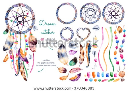 Color American Indians dreamcatcher with bird feathers and flora Stock photo © Elmiko