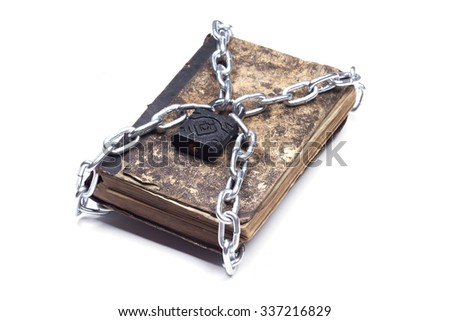tattered book with chain and padlock isolated on white backgroun Stock photo © natika
