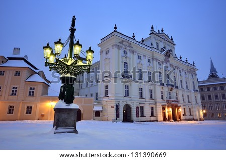 Historic Street lamp and Archbishop's Palace at the Castle Squar Stock photo © CaptureLight
