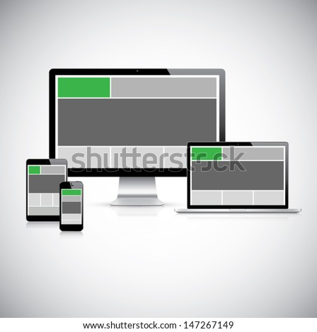Highly detailed responsive computer with responsive grid layout. Stock photo © netkov1