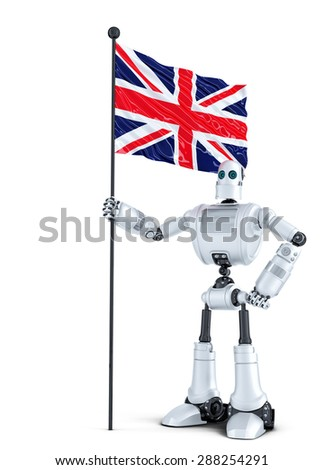 android robot standing with flag of uk isolated contains clipping path stock photo © kirill_m