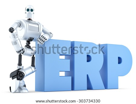 Robot with ERP sign. Business Technology concept. Isolated. Contains clipping path Stock photo © Kirill_M