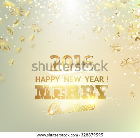 orangen glowing Merry Christmas and happy New Year 2016 lettering collection. Vector illustration    stock photo © rommeo79