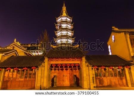 buddhist nanchang temple wooden door pagoda wuxi jiangsu china n stock photo © billperry
