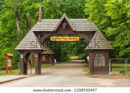 gate of Bialowieski national park, Podlaskie Voivodeship, Poland Stock photo © phbcz
