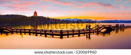 boats reflection sunset west lake reflection hangzhou zhejiang c stock photo © billperry