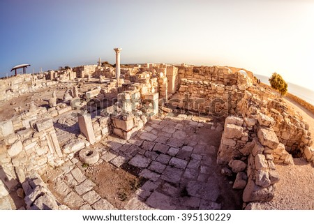 the episcopal precinct of kourion illuminated by the last sunlig stock photo © kirill_m