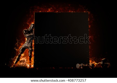 Muscular bodybuilder with blank board. Fire explode concept. 3d  Stock photo © Kirill_M
