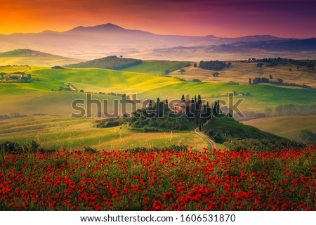 Tuscany, Italy landscape at sunset. Picturesque hills with lights and shadows.  Stock photo © photocreo