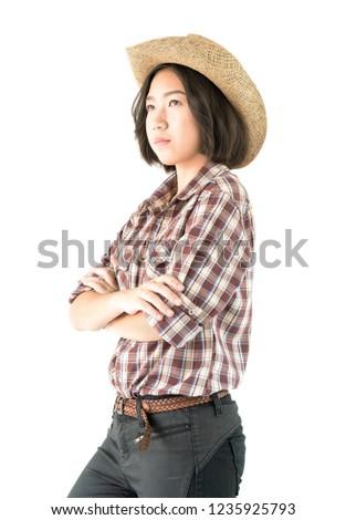 Derűs vonzó fiatal nő áll keresztbe tett kar portré Stock fotó © deandrobot