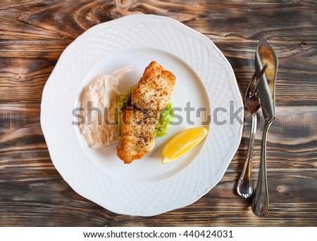 焼き 魚 スライス レモン 白 木製 ストックフォト © Yatsenko