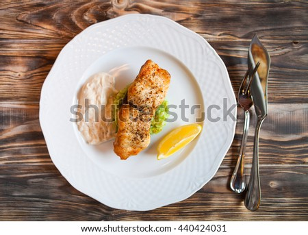 grelhado · peixe · restaurante · limão · jantar · churrasco - foto stock © yatsenko