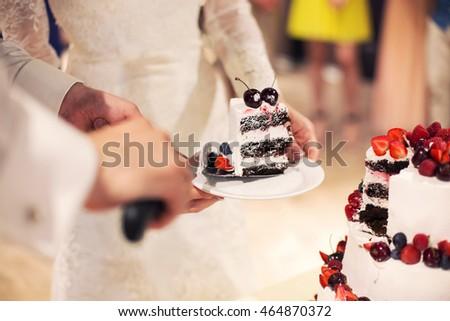 Stockfoto: Gesneden · bruidstaart · ingericht · vers · vruchten