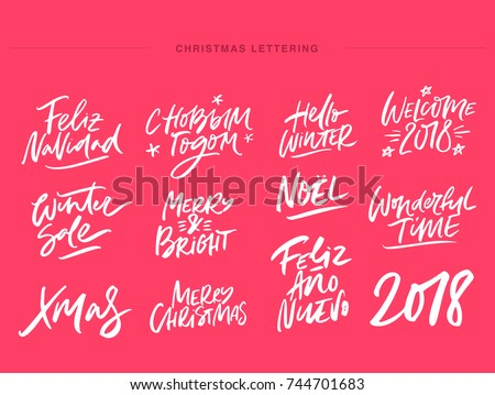 Alegre Navidad tarjeta de felicitación caligrafía dorado dibujado a mano Foto stock © kollibri