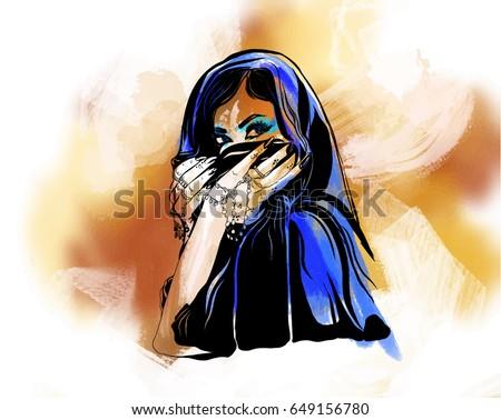 Müslüman genç güzel Arap kadın mavi Stok fotoğraf © NikoDzhi