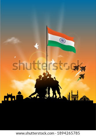 Indian tricolor background saluting real heroes of India showing armed force and women pilot Stock photo © vectomart