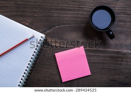 Close-up of black coffee with blank sticky note on white background Stock photo © wavebreak_media