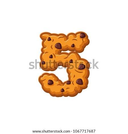 Number 5 cookies font. Oatmeal biscuit alphabet symbol five. Foo Stock photo © popaukropa