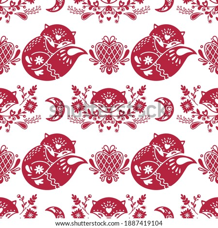 Folk heart vector seamless pattern, Scandinavian Valentine's Day design with red hearts on white bac Stock photo © RedKoala