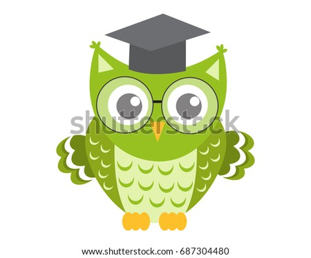 Owl in glasses with square academic cap icon, flat, cartoon style. Isolated on white background. Vec Stock photo © lucia_fox