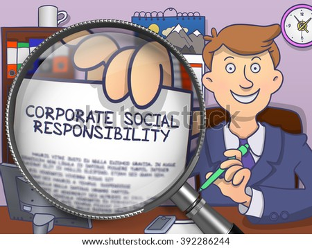 corporate social responsibility through magnifier doodle style stock photo © tashatuvango