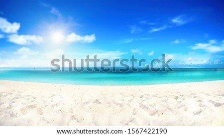 Panoramic view of paradise beach with white sand and multicolor  Stock photo © DisobeyArt