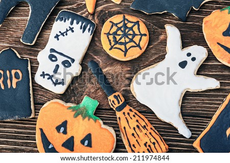 Halloween cookie Tombstone. gingerbread rip. Cookies for terribl Stock photo © MaryValery