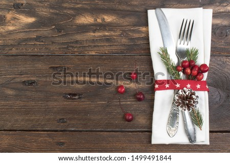 Christmas holiday dinner background; empty dish, cutlery and Chr Stock photo © Konstanttin
