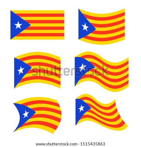 Catalonia flag set. Estelada Blava banner ribbon. Symbol of Stat Stock photo © popaukropa
