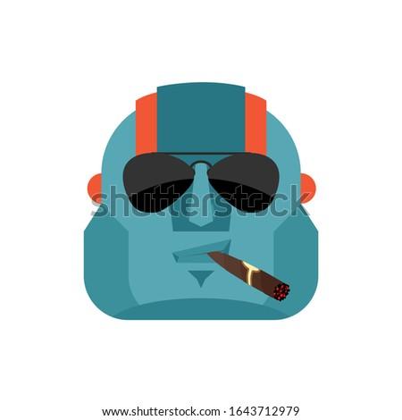 robot cool serious avatar of emotions cyborg smoking cigar emoj stock photo © popaukropa