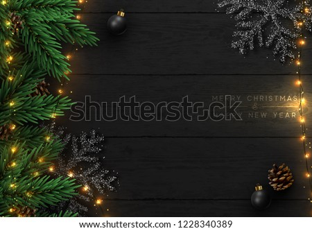 Christmas tree branches with cones on wooden texture ready for y Stock photo © vlad_star
