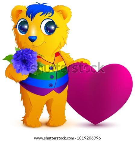 Orange bear in an rainbow vest holds flower and red heart. Valentines Day for LGBT community Stock photo © orensila