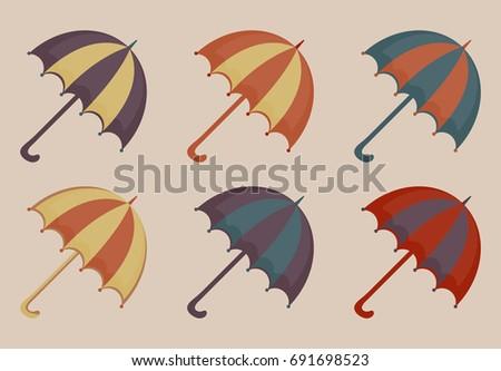Esernyők szett ikonok klasszikus stílus tengerpart Stock fotó © lucia_fox