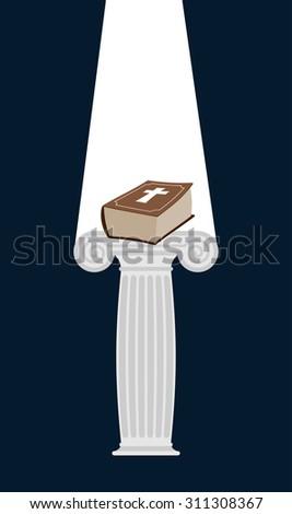 bible is pedestal in dark divine light illuminates a thick boo stock photo © popaukropa