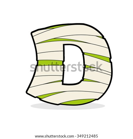 Letter D Mummy. Typography icon in bandages. Egyptian zombie te Stock photo © popaukropa