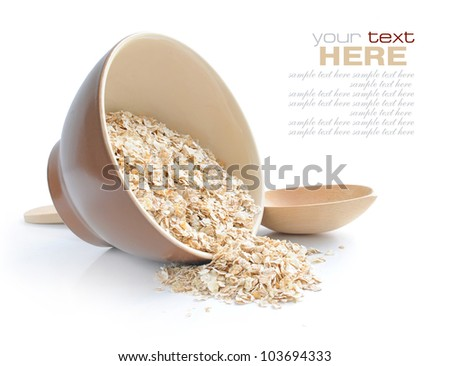 Oat Porridge in plate and spoon isolated. Healthy food for break Stock photo © MaryValery