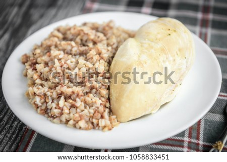 green buckwheat cereal in plate isolated healthy food for break stock photo © maryvalery